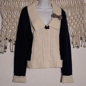 Anthro Field Flower navy cream cable knit sweater